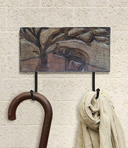 Store Indya, Rustique En Bois Crochet Crochet Mur Manteau Crochets Cle Chapeau echarpe Sacs Robe Murale a La Main elephant Sculpture 2 Metal Crochets Decor a La Maison Accessoires