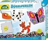 Lena 31502 - Bastelset Bügelperlen Tiere, mit 2000 Perlen, großer Steckplatte und Bügelpapier, mit Vorlagen für Tiermotive Hündchen, Fuchs und Schmetterling, für Kinder und Bastelfans ab 5 Jahre
