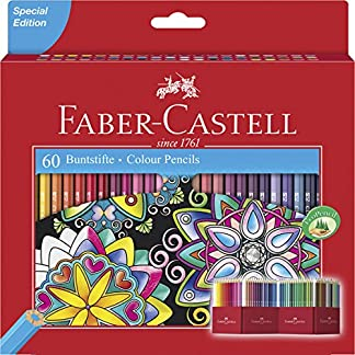 Faber-Castell 111260 – Estuche-soporte de cartón con 60 lápices de colores, multicolor