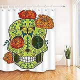 Cráneo,flores,patrón de mariposa,caléndula,fondo blanco_Cortina de ducha resistente al agua tela de poliéster cortinas de baño,150W * 180H CM