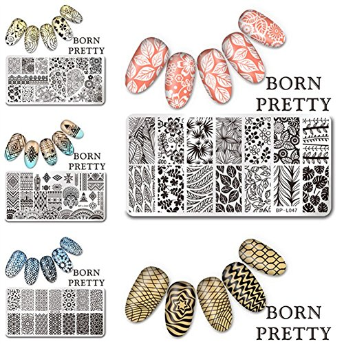 Born Pretty Nagel Schablonen Nail Art Stempel Plate Blumen BPX-L046-L050 DIY Design