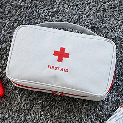 Preisvergleich Produktbild Hanbaili Greyish white (Only Bag) Kompakte Erste-Hilfe-Kit,  leere Erste-Hilfe-Kit Tasche Home Office Medizinische Notfall-Reise-Rescue-Tasche
