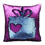 Luxbon Doppel Farbe Glitzer Meerjungfrau Reversibel Pailletten Funkeln Kissenbezug Sofakissen Fall Dekokissen 40 x 40cm Blau und Violett