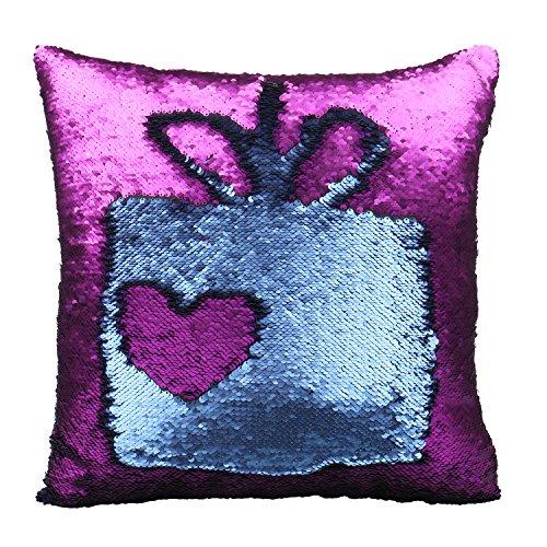 Luxbon viola e blu scura federa per cuscino con reversibili paillettes decorativo per casa divano sedia stanza letto 40 x 40 cm