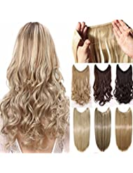 Secret Wire In Hair Extensions Straight Curly Wavy Extension Long Hairpiece Blonde Brown Black Color