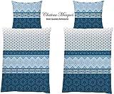 MB Warenhandel24 4-Teilige hochwertige Renforcé-Bettwäsche 2 x 135x200 Bettbezug + 2 x 80x80 Kissenbezug, 100% Baumwolle (Chateau Blau)