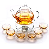 Liying Borosilicate Heat-resistant Glass Tea Pot Set Infuser Teapot + Warmer + 6 Double Wall Tea Cups Gift Set