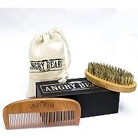 Brosse à barbe pour homme et peigne à barbe - Brosse de sanglier naturel et peigne en bois de santal pour une superbe barbe!