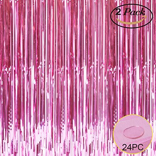Folie Fransen Metallic Vorhang Hintergründen-mit Ballon Sticks 3,3ftx6.6ft Lametta glänzend Vorhänge Ideal für Foto Booth Party/Fenster/Tür Dekorative Fransen Gardinen, 1Paar Hellrosa