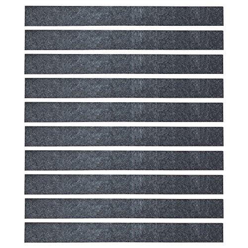 Mehrondo 10 Stück Dunkelgraue Filzstreifen Rohlinge FS203DG, 300x30x3 mm vorgeschnitten -