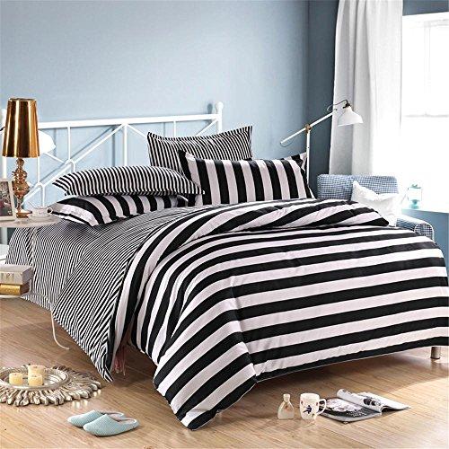 GAW Home Fashion Baumwolle 4-teilig Bettbezug Bettwäsche set, Voll-/Queen, Bettbezug(180*220cm*1),Blatt(230*230cm*1),Kissenbezug(48*74cm*2) (Violett Tröster Set)