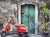 Artland Wandbild auf Alu-Verbundplatte Evgenia Smirnova Roter Motorroller Fahrzeuge Motorräder & Roller Fotografie Grau 30 x 40 x 1 cm A5RA