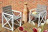 2-er Set Gartenstuhl Gartensessel Armchair weiß grau