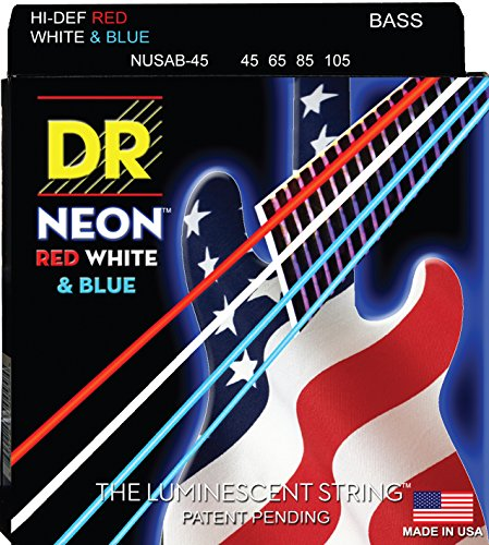 Dr Strings nusab4545–105medium set Handmade Neon USA Flagge COATED BASS STRINGS (4-string Set Bass Guitar)