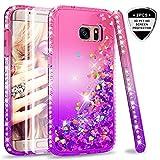 LeYi Hülle Galaxy S7 Edge Glitzer Handyhülle mit Full Cover 3D PET Schutzfolie(2 Stück),Diamond Rhinestone Bumper Schutzhülle für Case Samsung Galaxy S7 Edge Handy Hüllen ZX Gradient Pink Purple