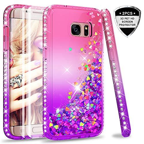 LeYi Hülle Galaxy S7 Edge Glitzer Handyhülle mit Full Cover 3D PET Schutzfolie(2 Stück),Diamond Rhinestone Bumper Schutzhülle für Case Samsung Galaxy S7 Edge Handy Hüllen ZX Gradient Pink Purple - Pink Cover Schutzfolie