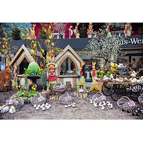 YongFoto 2,2x1,5m Vinyl Ostern Foto Hintergrund Festliche Dekoration Häschenmädchen Eier Küken Körbe Vogelhaus Fotografie Leinwand Hintergrund Partydekoration Fotostudio Hintergründe Fotoshooting