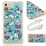 E-Mandala iPhone 5 5S SE Hülle Glitzer Flüssig Liquid Glitter Case Cover Handyhülle Schutzhülle Transparent mit Muster Durchsichtig Tasche Silikon - Katze Einhorn Cat Unicorn Blau