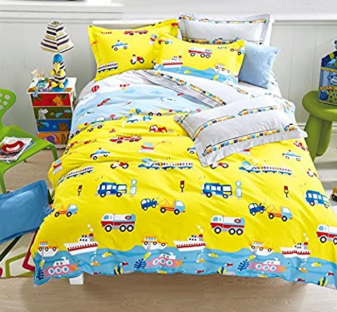 Cliab Cars Airplanes Motorcycle Train Construction Vehicles Truck Excavator Police Car Submarine Hot Air Balloon and More Duvet Cover Single Set 100% Cotton 2 Pieces