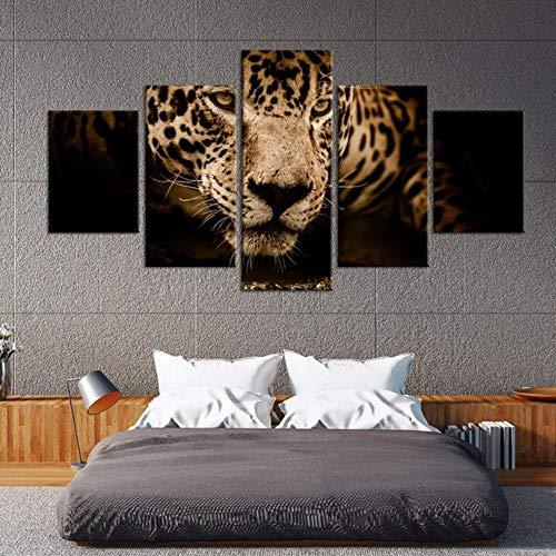 5 Stück HD Gedruckt Leinwanddrucke Jaguar Portrait Multi Panel Leinwand Wandkunst Panel Großes Poster Gemälde Portrait Panel
