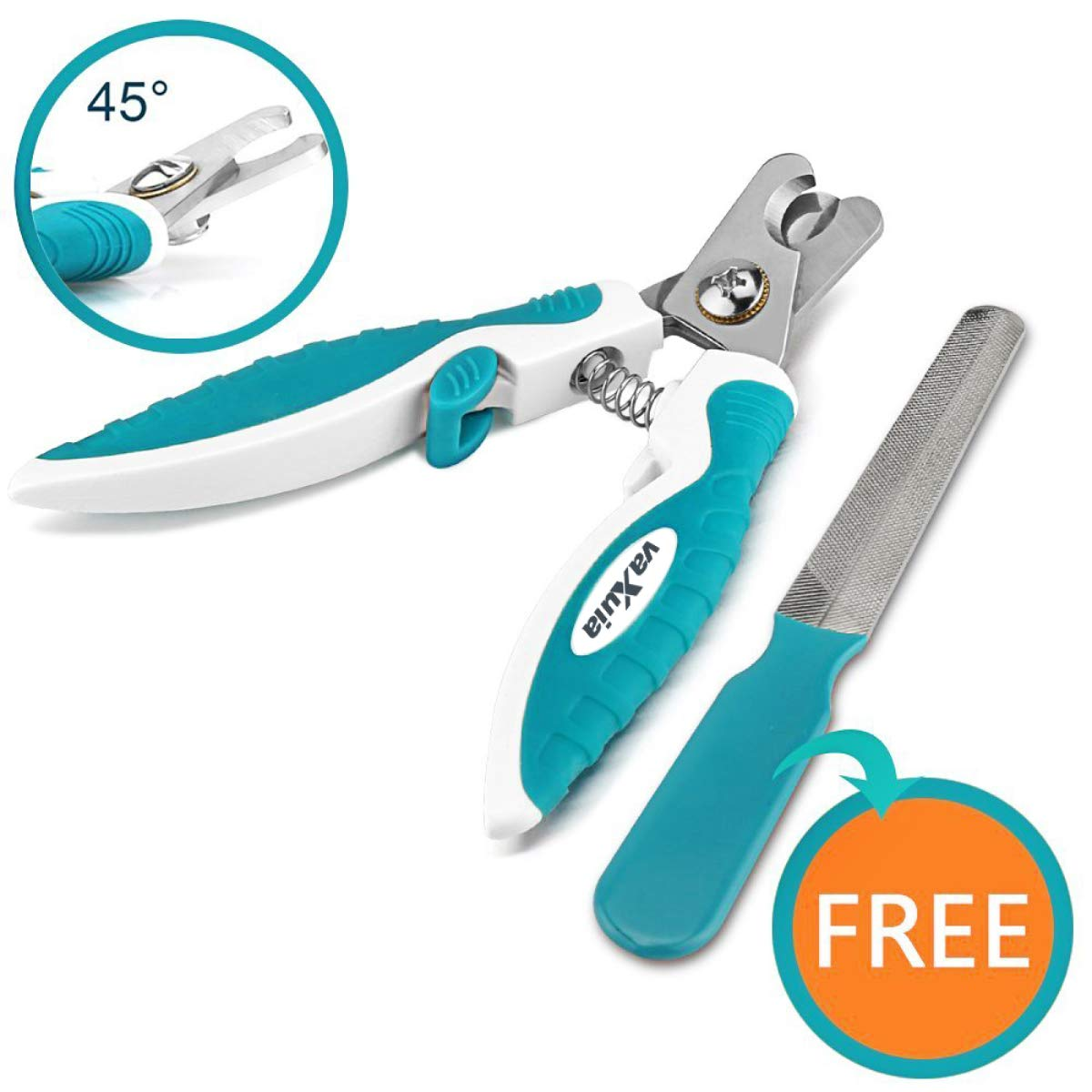Professional Dog Nail Clippers For Small Medium Large Dog Breeds-With Quick Safety Guard to Avoid Overcutting-Unique 45 ° Tip Blades-Free Nail File Included