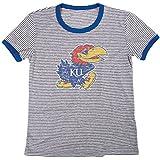 Blue 84 NCAA Kansas Jayhawks Women's Tri-Blend Retro Stripe Ringer Shirt, X-Large, Royal