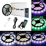 ALED LIGHT® 16.4 pies 5M RGBW impermeable (RGB + blanco fresco) tira del LED con 300 LEDs SMD (5050) + 40 teclas del control remoto + caja del regulador 12V 6A + Adaptador de corriente en Casa y en el exterior decorativo