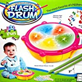 #4: Asian Hobby Crafts Multicolored Flash Drum Toy with 5 Visual 3D Lights, Music, 3 Game Modes for Kids, Multi Color