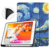 """TiMOVO Case for New iPad 7th Generation 10.2"""" 2019 with Apple Pencil Holder, [Light Weight] Slim Back Protective Case with Auto Wake/Sleep, Smart Case Fit iPad 10.2-inch Retina display - Starry Night"""
