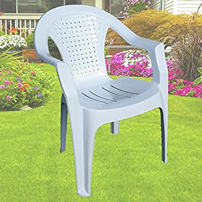 Indoor & Outdoor White Plastic Lawn Chairs Garden Patio Armchair Stacking Stackable