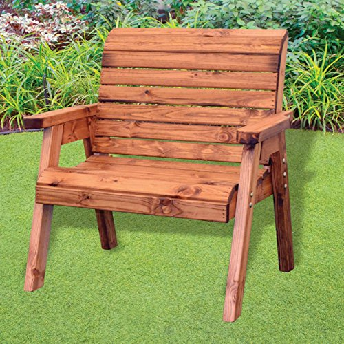 Charles Taylor Trading Hand Made Traditional Chunky Rustic Wooden Garden Extra Wide Chair Furniture