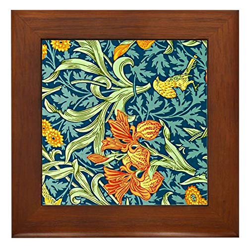 CafePress William Morris Design Iris Floral Pat Gerahmte Fliesen, dekorative Fliese zum Aufhängen -