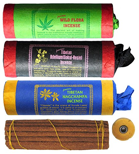 BUDDDHAFIGUREN Juego de 3 varitas de incienso tibetano: Wild Flora - Bdellium - Nagchampa