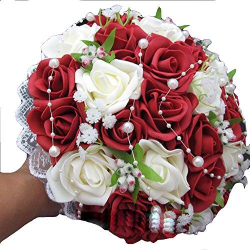xiangshang shangmao Hochzeit Brautstrauß Wein Rot Rosen Perle Babysbreath Blumenstrauß