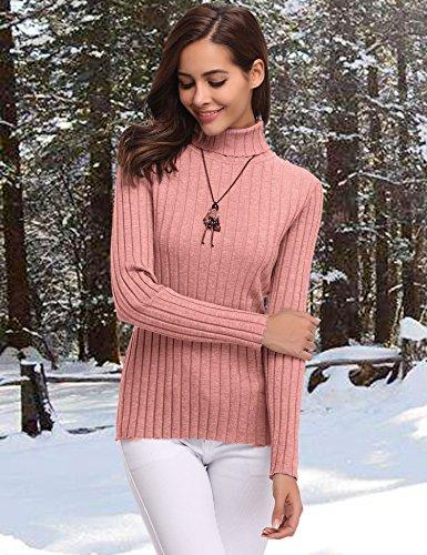 Pull col roulé femme à manches longues pull femme hiver sous-pull Col Roulé Tricot Hauts Femmes Basique Pull Manteau Chemisier Femme Automne Rose