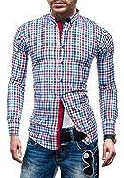 BOLF Langarm Herrenhemd Kariert Hemd Figurbetont Freizeit Slim Fit RED POLO 2122