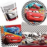 Disney Cars Party Pack for 8 - 8 Cups, 8 Plates, 20 Napkins, 1 Plastic Tablecover