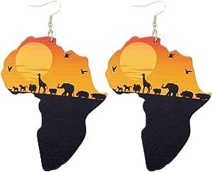 1 Coppia Donne Africane Mappa degli Orecchini di Legno Naturale Africano Originale Eco Modello Animale Dipinto Orecchini di Pendente Regalo