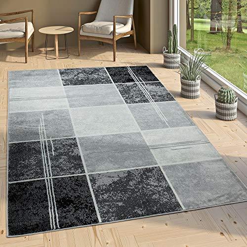 Paco Home Alfombra De Diseño - A Cuadros Efecto Mármol - Jaspeado Gris Negro Blanco, tamaño:80x150...