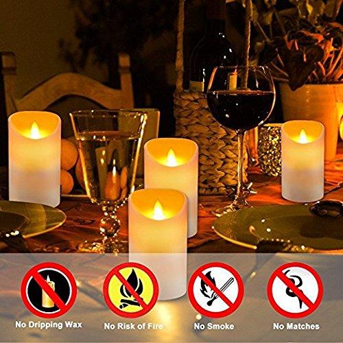 Homemory sin llama real wax pilares velas, realista llevado a Dancing Mood velas y 10 Llave Mando a distancia para la decoracion de la boda