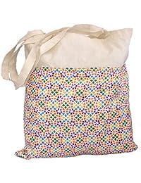 Bolsa Tote de Algodón con Bolsillo Estampado Mosaico Gaudí y cerrado con Velcro