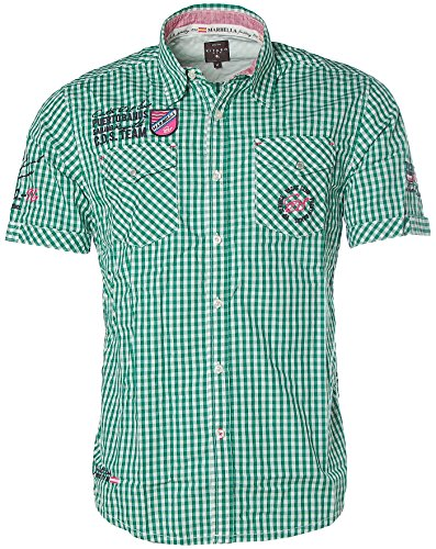 Kitaro Herren Kurzarm Shirt Hemd Freizeithemd Karo Puerto Banos Sailing Green