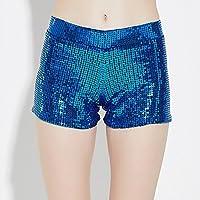 WLG Pantalones Cortos de Lentejuelas elásticos Altamente elásticos, Trajes de Escenario, Disfraces de Jazz, Mujeres Adultas,Azul,L