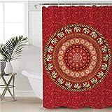 saknn-da Duschvorhang Mandala Dekorativer Duschvorhang Wasserdichtes Polyester Boho Blue Bad Vorhang Mit Haken für Badezimmer 180x180 cm