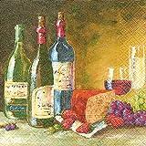 Serviette Servietten Essen und Trinken Verschiedene Ausgefallene Motive zur Auswahl Edel 33x33 cm 20 Stück 3-Lagig (Serviette Wein)