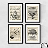 Set de 4 láminas para enmarcar, Globos, Diente de leon, Bici y arbol de la vida estilo Partitura. Posters con...