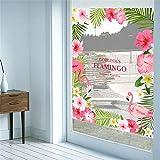 FangKuai FKAL0463 Romantischen Garten Herrlich Flamingoblume Fensteraufkleber Abziehbild Schlafzimmer Wohnzimmer Wandkunst Hauptdekor Poster Wand Hochzeitsdeko