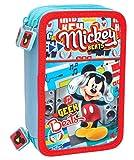 Disney Mickey Mouse 56324 Trousse Triple, 3 Compartiments, Feutres, Crayons, Accessoires École 44 Pièces, Polyester, Multicolore