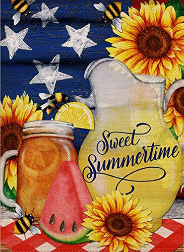 dyrenson Home Deko Wassermelone Bienen Garten Flagge Doppelseitig Sweet Summer Zitat, Blume Haus Hof Flagge, Sonnenblume Star Garten Yard Verzierungen, Mason Floral Seasonal Outdoor Flagge 12x 18 -