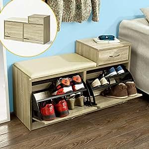 sobuy fsr17 n banc meuble chaussures 2 abattants avec coussin et 1 tiroir rangement armoire. Black Bedroom Furniture Sets. Home Design Ideas